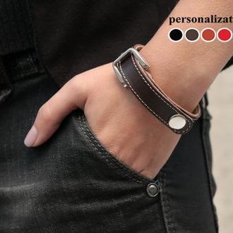 Тонкий прошитый кожаный браслет, 3240ст