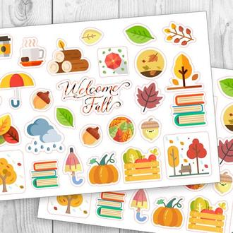 "Набор наклеек, стикеров для блокнота и планера ""Fall"""