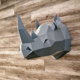 Наборы для создания 3д фигур Оригами Паперкрафт Бумажная модель Papercraft Носорог