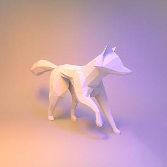Наборы для создания 3д фигур Оригами Паперкрафт Бумажная модель Papercraft Лисица