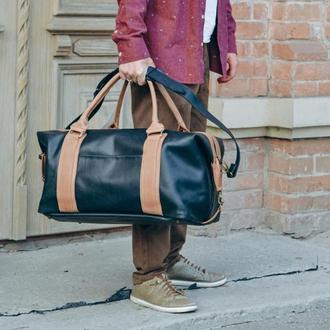 Дорожная черная сумка, кожаная спортивная сумка
