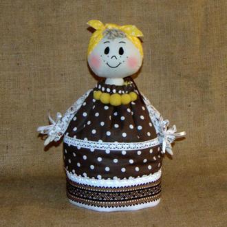 Баба-грелка на чайник СОЛОХА в народном стиле ручной работы (коричневая)