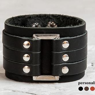 Кожаный браслет, черный с прямоугольной вставкой код 3452