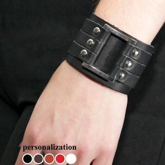 Кожаный браслет с прямоугольном код 3454