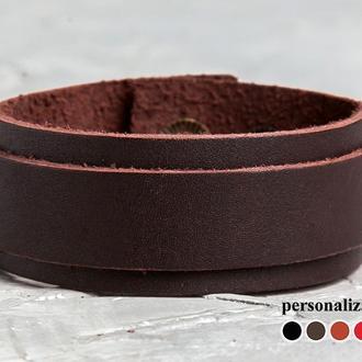 Класичний коричневий шкіряний браслет код 3542
