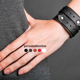 Черный кожаный браслет со стрелками код 3555