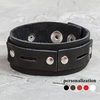 Черный тонкий кожаный браслет с прямоугольными вставками код 3558