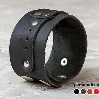 Черный кожаный браслет код 3564