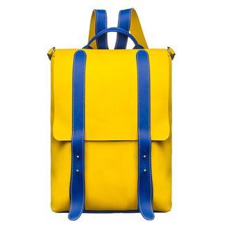 Большой желтый кожаный патриотичный рюкзак