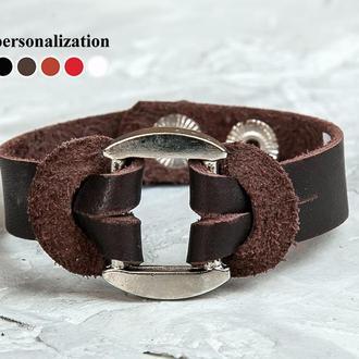 Черный кожаный браслет бабочка код 3755