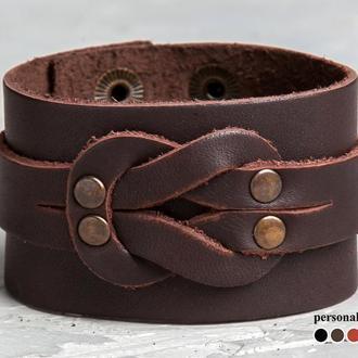 Коричневый кожаный браслет - твердый узел код 3780