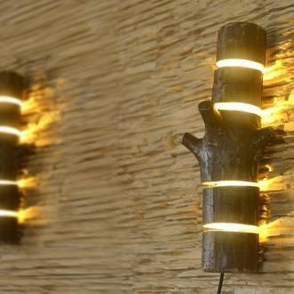 Бра из дерева, деревянный настенный светильник, настенная лампа