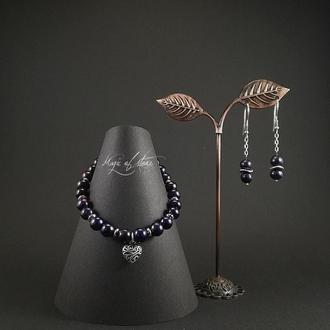 Комплект украшений из жемчуга и серебра 925 пр.