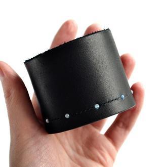 Черный кожаный браслет с аквамарином Space