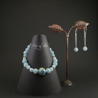 Комплект украшений из аквамарина ,бусина Tensha и серебра 925пр.