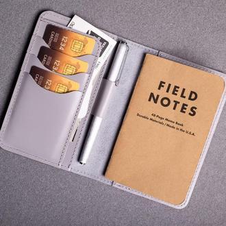 Обложка для блокнота/паспорта из натуральной кожи в сером цвете