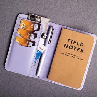 Обложка для блокнота/паспорта из натуральной кожи в лиловом цвете 0155