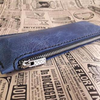 Кожаный пенал для ручек и карандашей R04-синий