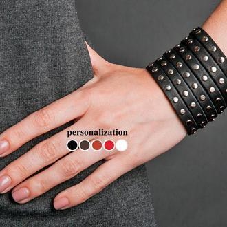 Черный металлический кожаный браслет код 4600