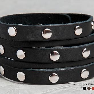 Черный кожаный браслет с заклепками код 4606