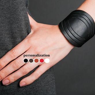 Круглый черный кожаный браслет код 4608