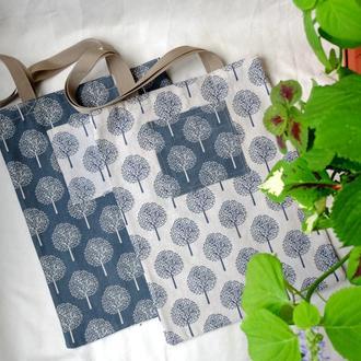 Сумка для покупок с деревьями, эко сумка, торба,льняная сумка, сумка шоппер 12(1)