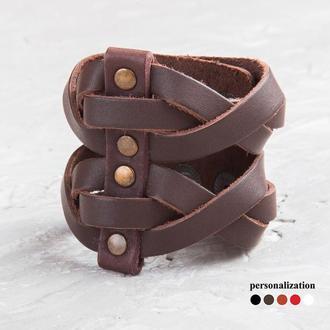 Черный широкий плетеный кожаный браслет код 4625