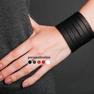 Черный кожаный браслет классическими полосками код 4640