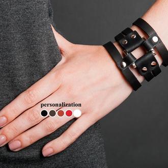 Кожаный браслет  - черный квадрат код 4655