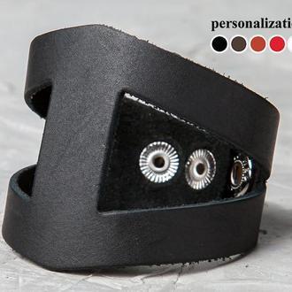 Кожаный браслет - черный треугольник код 4660