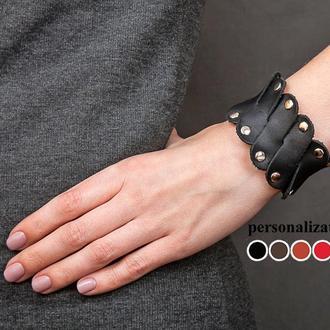 Черный фигурный кожаный браслет с заклепками код 4678