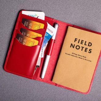 Обложка для блокнота/паспорта из натуральной кожи в красном цвете 0155