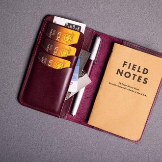 Обложка для блокнота/паспорта из натуральной кожи в бордовом цвете 0155