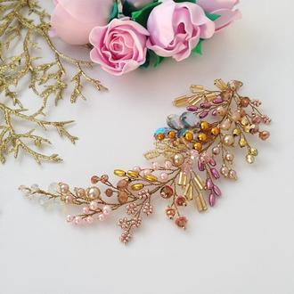 Веточка «Розовое золото» - украшение в прическу