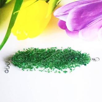 Браслет зеленый Воздушный браслет Широкий красивый браслет Зеленый браслет на подарок