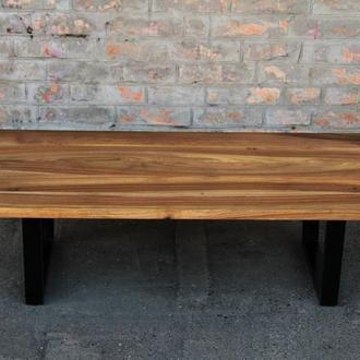 Журнальный дизайнерский кофейный чайный столик из древесины ореха с металлическими ножками под лаком