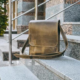 Кожаная мужская сумка через плечо, Зеленый мессенджер