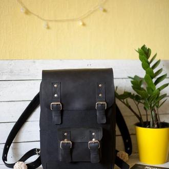 """Стильный рюкзак из водонепроницаемого брезента и кожи. Модель""""Snuggy"""""""