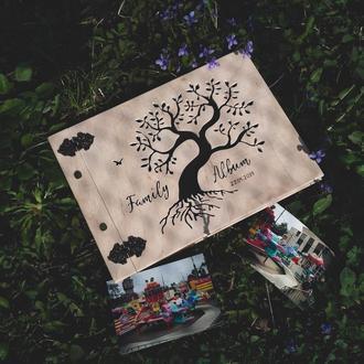 Сімейний фотоальбом із дерева (свадебный подарок на годовщину день рождение юбилей)