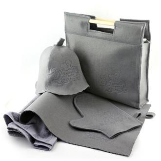 Подарочный набор для бани 5в1, серый фетр