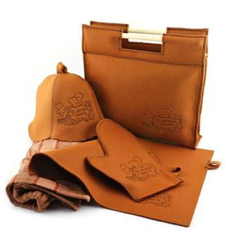 Подарочный набор для бани 5в1, коричневый фетр