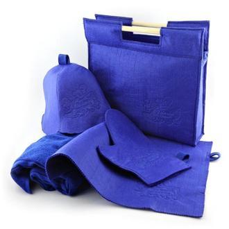 Подарочный набор для бани 5в1, синий фетр