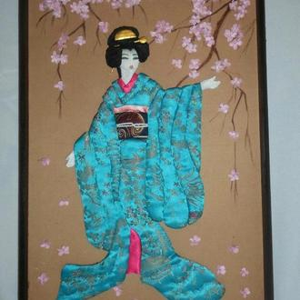 Гейша и цветущая сакура картина осиэ
