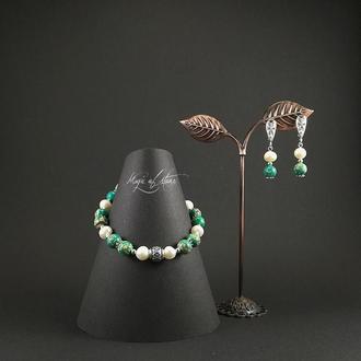 Комплект украшений из варисцита,жемчуга и серебра 925 пр.
