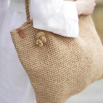 Пляжная вязаная сумка из джута на плечо