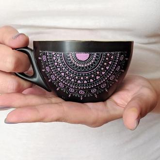 Керамическая чашка с росписью/ Керамічна чашка з розписом
