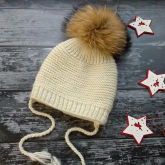 Очень теплая вязаная зимняя шапка