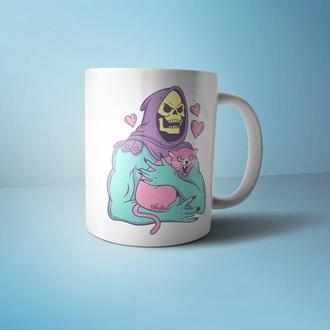 """Чашка с принтом """"Скелет с котом"""""""