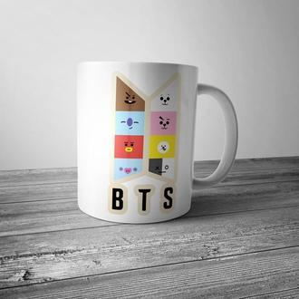 """Чашка с принтом """"BTS"""""""