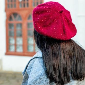 Бордовый берет с пайетками и мохером, женский вязаный берет на осень зиму, шапка под пальто